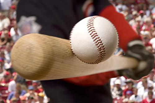 Batter Hitting Baseball Photography A-89735 (24x16 Gallery Quality Metal Art)