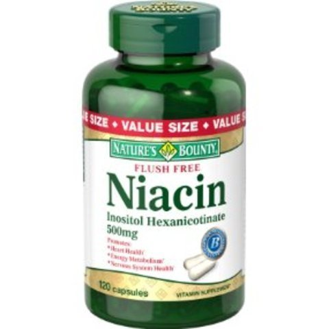 Nature's Bounty Flush Free Niacin 500 Mg, 120-Count ( Family Pack of 4) by Nature's Bounty