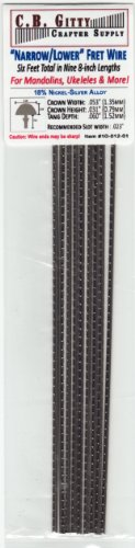 6-foot set of Narrow-Lower Fret Wire for Mandolin, Ukulele, Dulcimer & More