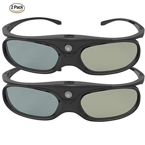 DLP Link 3D Glasses, ELEPHAS 144Hz Rechargeable Active Shutter Eyewear for All DLP-Link 3D Projectors-- Acer, ViewSonic, BenQ Vivitek, Optoma, Panasonic, Dell, Viewsonic etc (2 Pack)