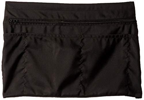 (5 Pockets Black Waist Apron (22x13 inches). Clip-on Server Apron with Zipper Pocket. Restaurant Half Aprons Waitress, Waiter, Server, Bartender, Busser, Barista, Money Apron, Check Holder, Organizer)