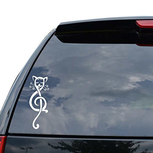 TRIBAL CAT TREBLE CLEF MUSIC Decal Sticker Car Truck Motorcycle Window Ipad Laptop Wall Decor - Size (05 inch / 13 cm Tall) - Color (Gloss WHITE) ()