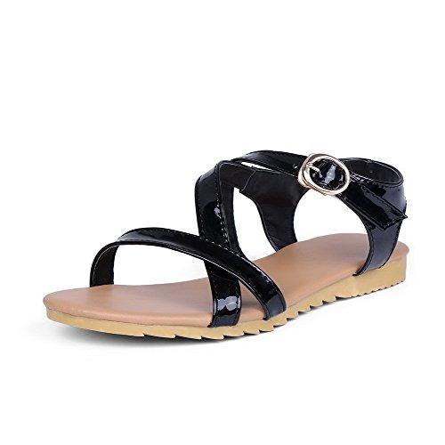 AalarDom Womens Open-Toe Low-Heels Patent Leather Solid Buckle Sandals Black