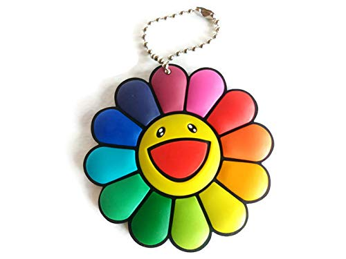 SaveALL Murakami Classic Rainbow Color Fake Sunflowers Keychain Brooch pin Kitchen Wall Decor Plush Toy Cute Smile Great for Decoration Cell Phones Backpacks lanyards Jeans Jackets and More 2.7