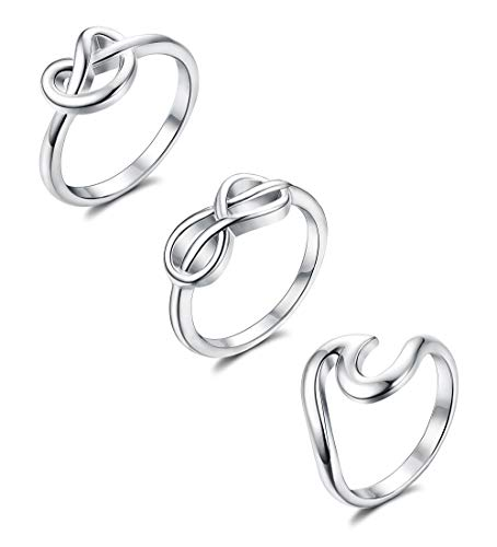 (Adramata 3 Pcs 925 Sterling Silver Engagement Rings for Women Girls' Simple Unique Wave Knot Infinity Ring Set Size 4-9)