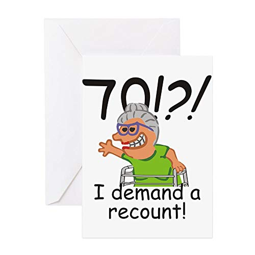 CafePress Recount 70Th Birthday Funny Old Lady Greeting Card, Note Card, Birthday Card, Blank Inside Glossy
