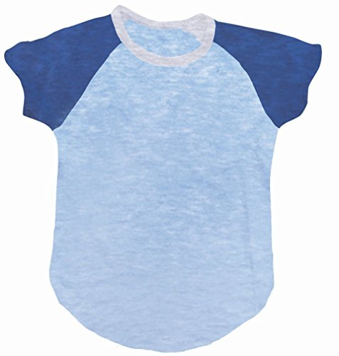 iscream Big Girls' Short Sleeve Baseball Shirt - Navy Blue & Light Blue, LG