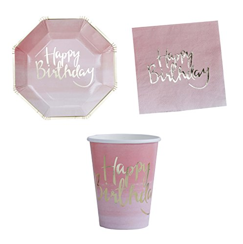 William & Douglas Ginger Ray Pink Ombre Happy Birthday Party Supplies Bundle | Paper Plates, Cups and Napkins