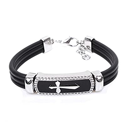 Winter's Secret Cross Shape Titanium Steel Black Leather Religious Style Adjustable Unisex Wrap Bracelet