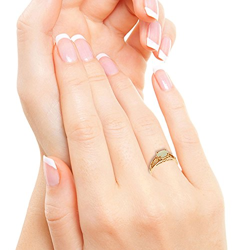 ALARRI 14K Solid Rose Gold Filigree Ring w/ Natural Opal With Ring Size 10 by ALARRI (Image #4)