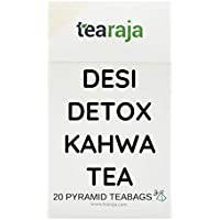 Desi Detox Kahwa Tea   20 Pyramid Tea Bags   Refreshes & Detoxify   Perfect Home Remedy for Cough & Cold   Cure Chest Congestion   Ingredients - Premium Green Tea, Holy Basil, Cinnamon, Ginger & other Herbs   Freshly Packed  
