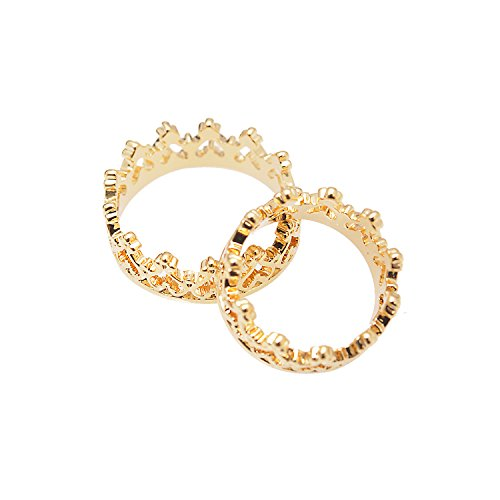 Spinningdaisy Perfect Crown Ring and Midi Fashion Ring Set (gold-plated-base) (Gold Crown Ring)