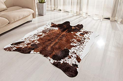 NativeSkins Faux Cowhide Rug Large 4.6ft x 6.6ft – Cow Print Area Rug for a Western Boho Decor – Synthetic, Cruelty-Free Animal Hide Carpet with No-Slip Backing