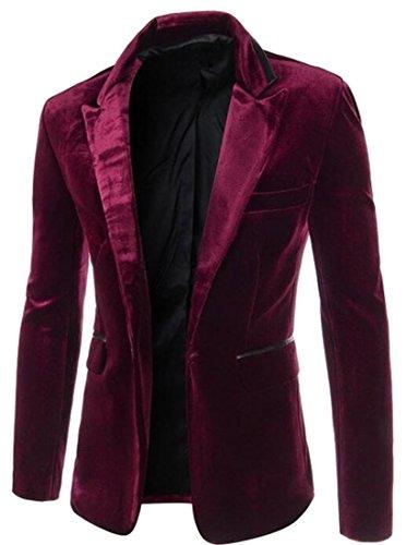 WAYA Mens Vintage Corduroy One Button Slim Business Blazer Jacket Wine Red M