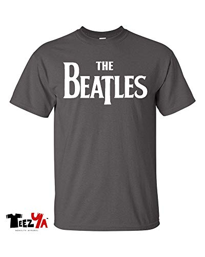 (The Beatles T-Shirt Official Classic Rock Band Logo Tee (Charcoal, Medium))