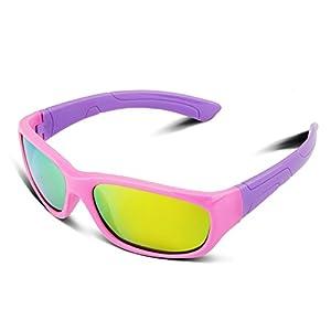 RIVBOS RBK025 Rubber Flexible Kids Polarized Sunglasses Glasses Age 3-10 (Pink Coating Lens)