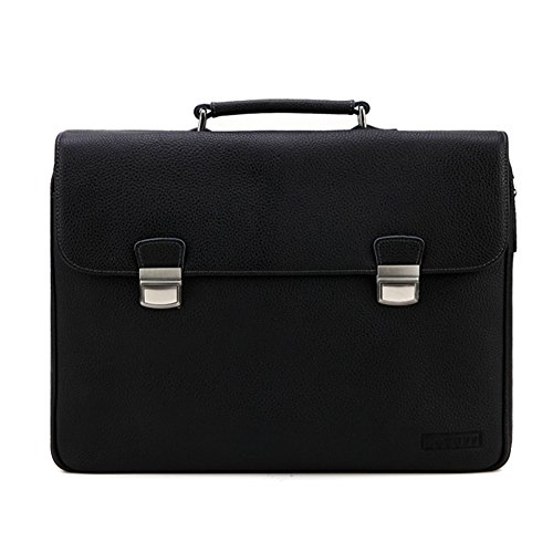 Lotuff Men's Genuine Leather Formal Briefcase 14 Inch Laptop Bag One Size Black by LOTUFF