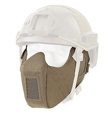 Mask Adapter - A&N Airsoft Outdoor Tactical Military Helmet Adapter Combat Protective Half Face Ear Protection Conquer Mask Tan