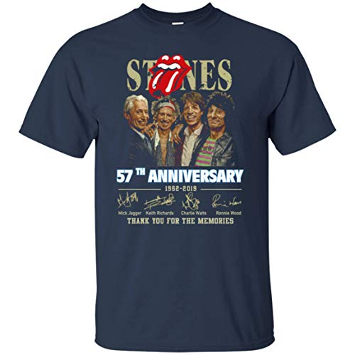 57th Anniversary The Rolling Stones T Shirt for Men idea for Fan Who Love Rolling Stones (T-Shirt; Navy; Medium)