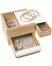 Umbra Mini Stowit Jewelry Box - Modern Keepsake Storage Organizer with Hidden Compartment Drawers for Ring, Bracelet, Watch, Necklace, Earrings, and Accessories (White / Natural)