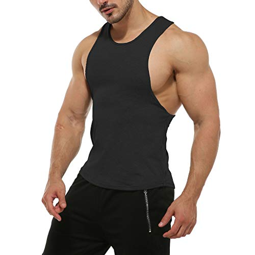 - iHPH7 Men Muscle Fitness Gym Stringer Tank Tops Bodybuilding Workout Sleeveless Shirts Casual Sport Sleeveless Shirt Tee Top Blouse Vest Tank XXL Black