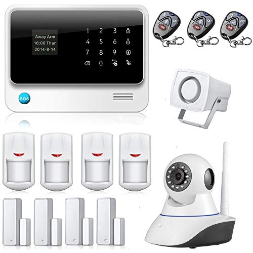 iMeshbean G90B Wireless Home Alarm Security System with IP Camera, WiFi GSM GPRS SMS Wireless Security Alarm System 433HZ Android iOS APP Control RFID Keypad DIY Kit M#05523