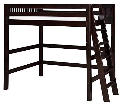 Wood Loft Ladder (Camaflexi Mission Style Solid Wood High Loft Bed, Twin w/ End Angled Ladder, Cappuccino)