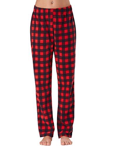 (Fashion Plaid Flannel Plaid Long Pajama Pants Homewear Size M Red)
