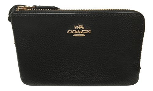 Coach Wristlet - Coach Pebbled Leather Double Corner Zip Wristlet F87590 (Black)
