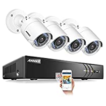 ANNKE 8 Channel 3MP CCTV Camera Security System with (4) TVI 1080P Wired Outdoor CCTV Camera, IP66 Weatherproof, Email Alarm with Image, Phone Access