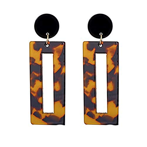Shape Earrings Rectangle (Vintage Acrylic Square Dangle Earrings For Women Punk Tortoiseshell Fashion Jewelry Accessories (deep brown))