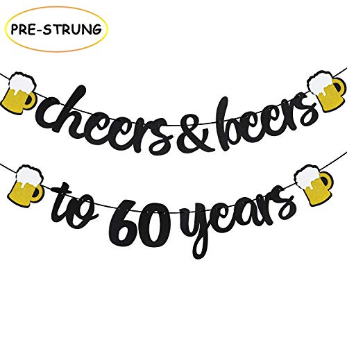 Cheers & Beers to 60 Years Black Glitter Banner for 60th Birthday Wedding Aniversary Party Supplies Decorations -
