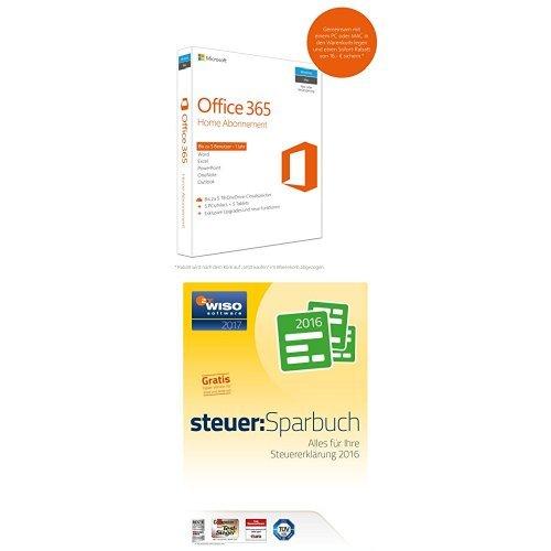 Microsoft Office 365 Home 5PCs/MACs - 1 Jahresabonnement - multilingual (Product Key Card ohne Datenträger) + WISO steuer:Sparbuch 2017 (für Steuerjahr 2016 / Frustfreie Verpackung)