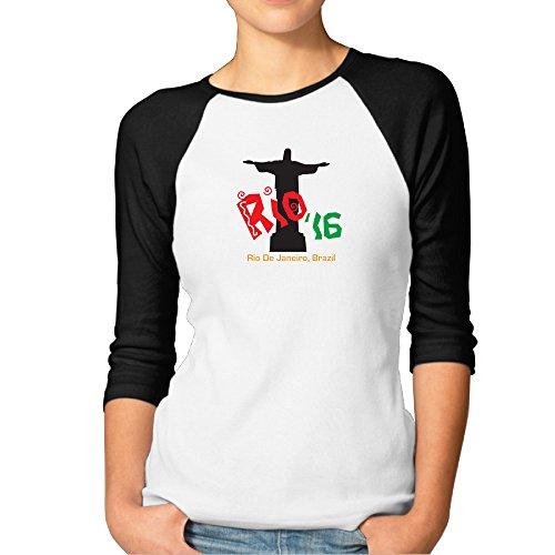 Rio 16 Women's Love 100% Cotton 3/4 Sleeve Athletic Baseball Raglan Sleeves T-Shirt Black US Size S