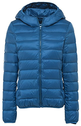 Hooded Nylon Shorts - Sawadikaa Women's Hooded Packable Short Quilted Lightweight Down Puffer Jacket Coat Down Parka Jacket Peacock Blue X-Small