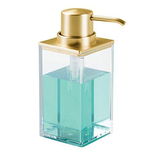 mDesign Modern Square Plastic Refillable Liquid Soap Dispenser Pump Bottle for Bathroom Vanity Countertop, Kitchen Sink - Holds Hand Soap, Dish Soap, Hand Sanitizer, Essential Oils - Clear/Gold