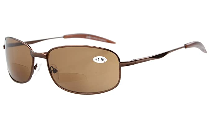 f19ec30cf79e Eyekepper Metal Frame Fishing Golf Cycling Flying Outdoor Bifocal Sunglasses  Brown +1.0
