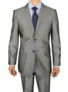 B00FPAJAYW Marzzotti Gianni 2 Button Sharkskin Modern Fit Shiny Men's Suit 46R Silver Gray