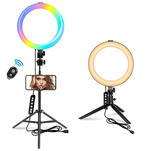 "10.2"" RGB Selfie Ring Light with 70'' Stand, MACTREM 14 Colors RGB LED Ring Light with 2 Tripod Stands & Phone Holder, 10 Brightness Level, Camera Remote Shutter for Makeup YouTube Video Photography"