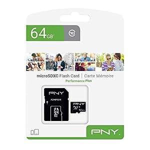 PNY Performance Plus Memoria Flash 64 GB MicroSDXC Clase 10 - Tarjeta de Memoria (64 GB, MicroSDXC, Clase 10, Negro)