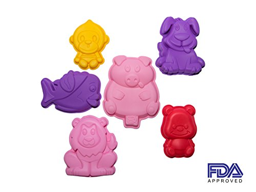 Six Large Animal Shaped Silicone Molds - Kids Children Baking Set - Dog Pig Fish Lion Monkey Moulds - Bake Pans for Cake/Jello/ Chocolate/ Cookie/Biscuit/Candy/ Soap/ Plaster/ Dessert (Pans Animals Baking)