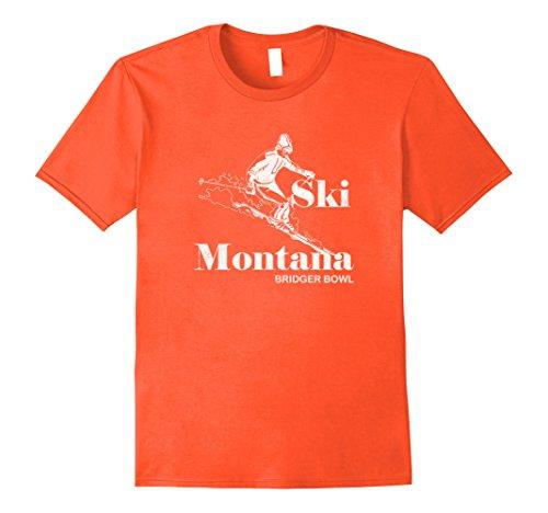 Mens Retro Montana T-Shirt Bridger Bowl Skiing Tee Medium Orange (Bridger Bowl)
