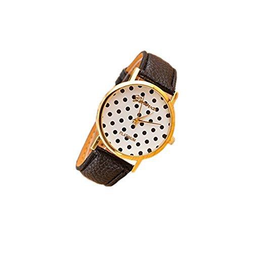 Dealzip Inc Geneva 腕時計 ウィメンズ レディース アンティーク PUレザーバンド 電波時計 ドット柄 リストウォッチ ブラック B00N3GNYHO