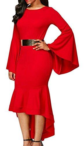 Manches Flare Cromoncent Femmes Bodycon Tuxedo Robes Longues Rouges Ras Du Cou