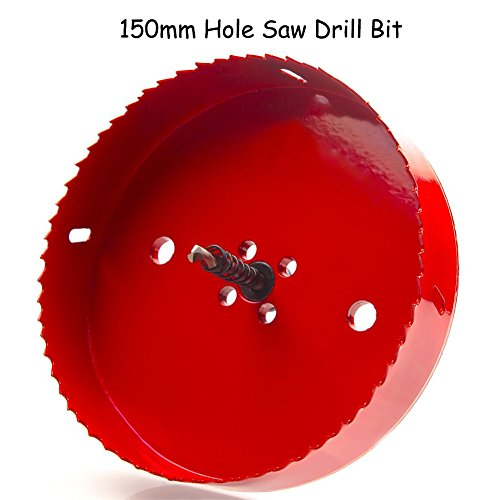 150 mm Hole Saw Blade for Cornhole Boards Rapid Core Eject Hole Saw Corn Hole Drilling Cutter & Hex Shank Drill Bit Adapter for Cornhole Game Carbon Steel & BI-Metal Heavy Duty Steel