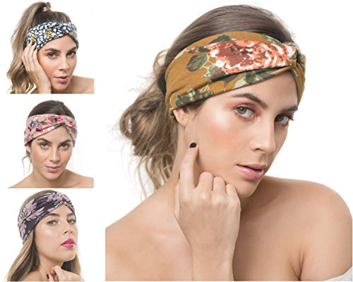 Criss Cross Knot - OSATTIA 4 Pack Women Boho Headband Floral Style Knot Bohemian Hairwrap Flower Printing Twisted Criss Cross Stretchy Hairband