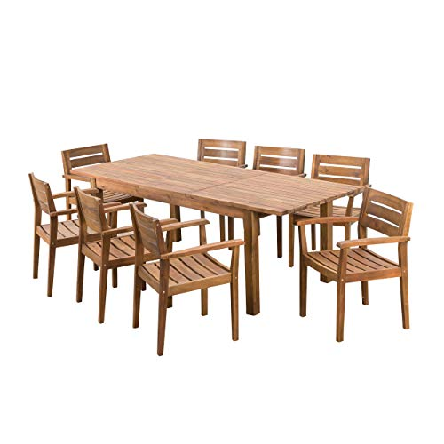 Christopher Knight Home William Outdoor 9 Piece Teak Finished Acacia Wood Dining Set with Expandable Dining Table (For Sets 8 Outdoor Dining)