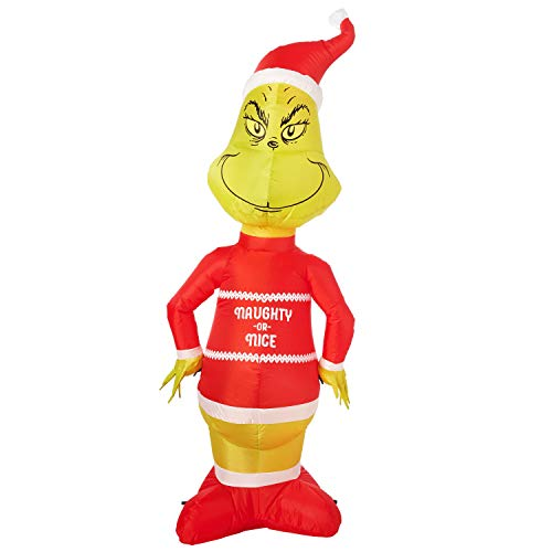 Naughty Or Nice Adult Store (The Grinch Inflatable Decoration 5.5ft - Naughty or)