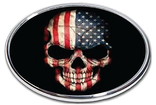 Chrome Skull Hitch - FabProductsRus.com American Flag Skull - Trailer Hitch Cover - 2
