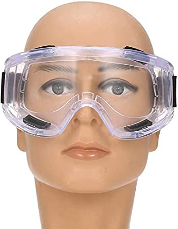 Black Adjustable Strap Indirect Vent Onion Goggles with Flexible Soft PVC Frame Polycarbonate Clear Anti-Fog Lens Fit Over Prescription Glasses.